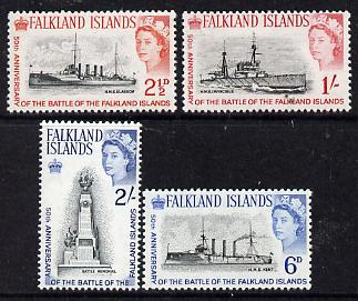 Falkland Islands 1964 50th Anniversary of Battle of the Falkland Islands set of 4 unmounted mint, SG 215-18