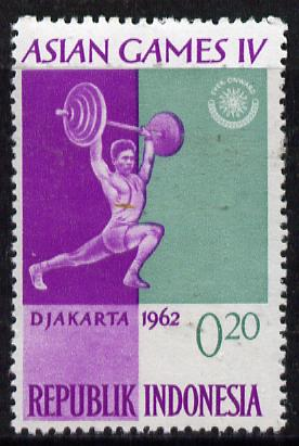 Indonesia 1962 Weightlifting 20s (from Asian Games set) unmounted mint SG 905