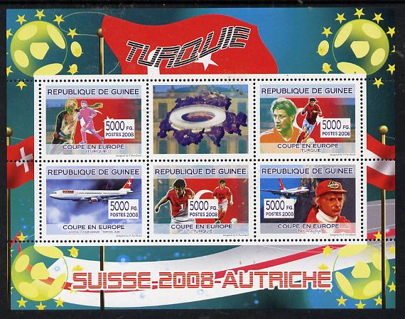 Guinea - Conakry 2008 European Football Championship - Turkey perf sheetlet containing 5 values plus label unmounted mint