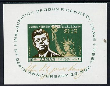 Ajman 1968 Kennedy imperf m/sheet unmounted mint, Mi BL 65