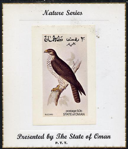 Oman 1972 Birds (Buzzard) imperf souvenir sheet (50b value) mounted on special 'Nature Series' presentation card inscribed 'Presented by the State of Oman'