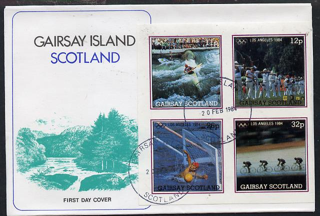 Gairsay 1984 Los Angeles Olympic Games imperf  block of 4 (Canoeing, Archery, Water Polo & Cycling) on cover with first day cancel