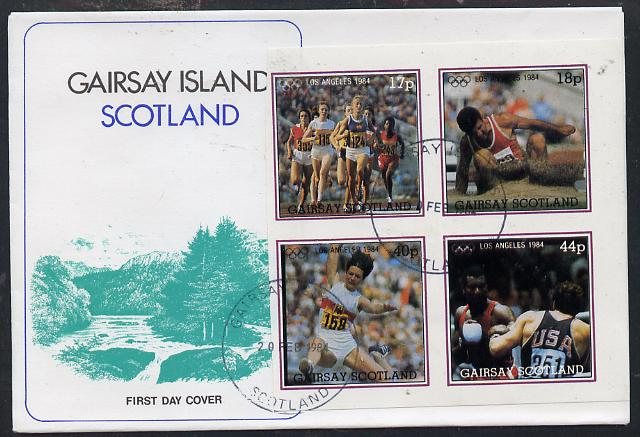 Gairsay 1984 Los Angeles Olympic Games imperf  block of 4 (Running, Long Jump & Boxing) on cover with first day cancel