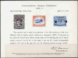 Exhibition souvenir card for 1973 Apex Airmail Exhibition showing  Newfoundland De Pinedo, USA Inverted Jenny & Honduras Airmail stamps