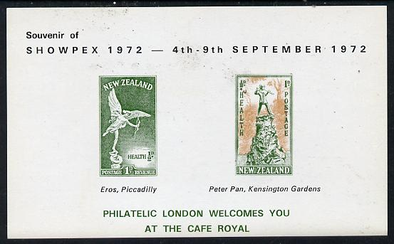 Exhibition souvenir sheet for 1972 Showpex showing New Zealand Health Stamps (Statues of Peter Pan & Eros) unmounted mint