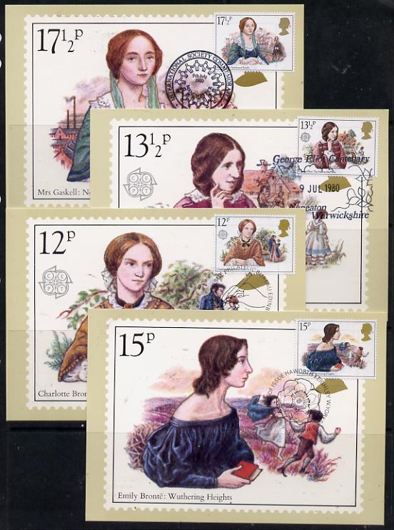 Great Britain 1980 Famous Authoresses set of 4 PHQ cards with appropriate stamps each very fine used with first day cancels