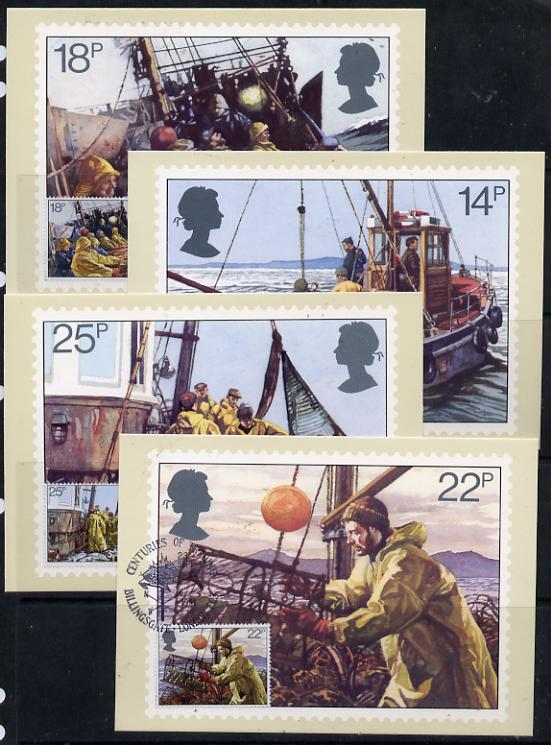 Great Britain 1981 Fishing Industry set of 4 PHQ cards with appropriate stamps each very fine used with first day cancels