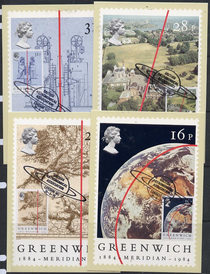 Great Britain 1984 Greenwich Meridian set of 4 PHQ cards with appropriate stamps each very fine used with first day cancels