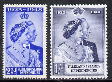 Falkland Islands Dependencies 1948 KG6 Royal Silver Wedding set of 2 unmounted mint SG G19-20