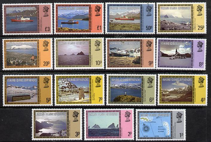 Falkland Islands Dependencies 1980-84 Island Scenes definitive set complete 15 values  1p to \A33 (without imprint dates) unmounted mint SG 74A-88A