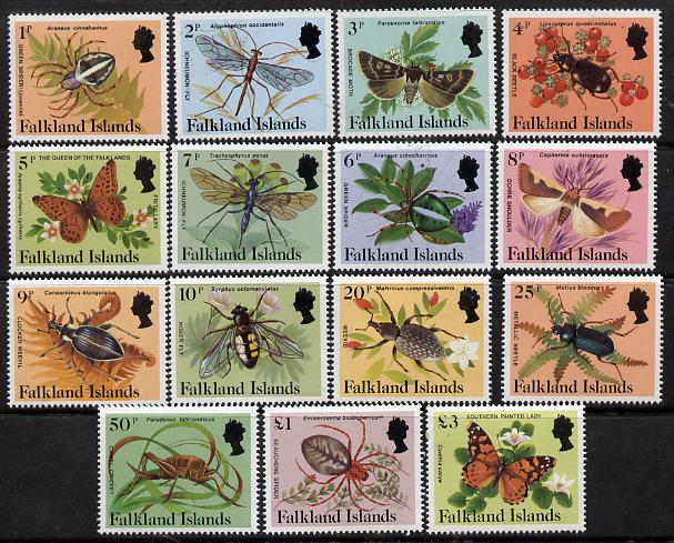 Falkland Islands 1984-86 Insects definitive set complete 1p to \A33 unmounted mint, SG 469A-83A