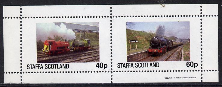 Staffa 1981 Steam Locos #01 perf  set of 2 values unmounted mint