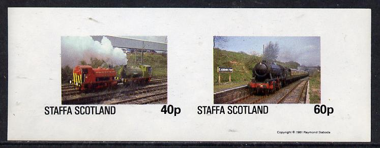 Staffa 1981 Steam Locos #01 imperf  set of 2 values unmounted mint