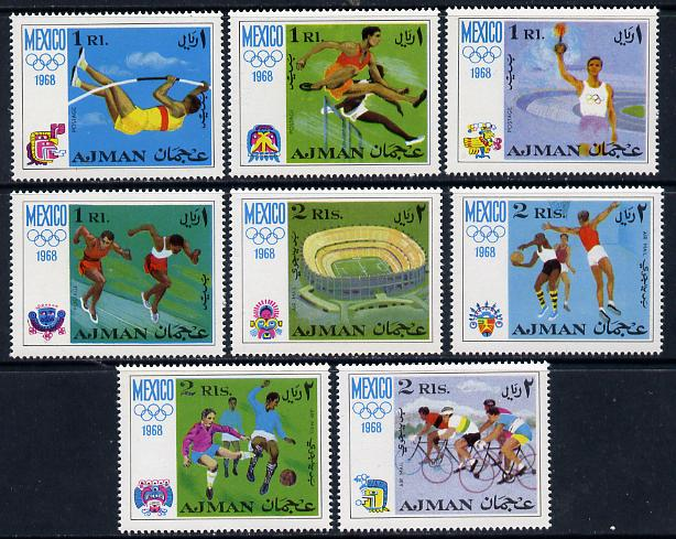 Ajman 1968 Mexico Olympics perf set of 8 unmounted mint Mi 247-54