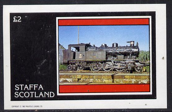 Staffa 1982 Steam Locos #06 imperf deluxe sheet (�2 value) unmounted mint