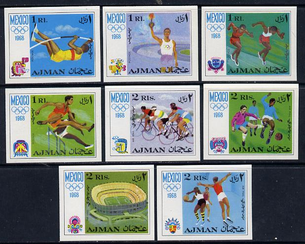 Ajman 1968 Mexico Olympics imperf set of 8 unmounted mint, Mi 247-54B