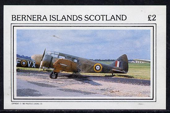 Bernera 1982 Aircraft #02 imperf deluxe sheet (�2 value) unmounted mint