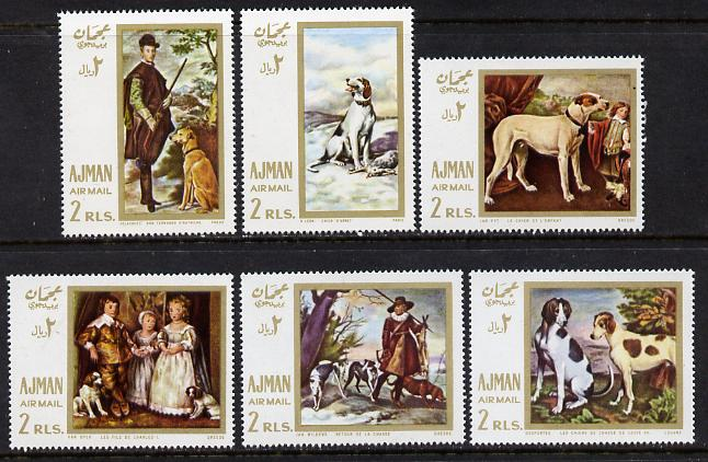 Ajman 1968 Paintings with Dogs perf set of 6 (Mi 271-6) unmounted mint