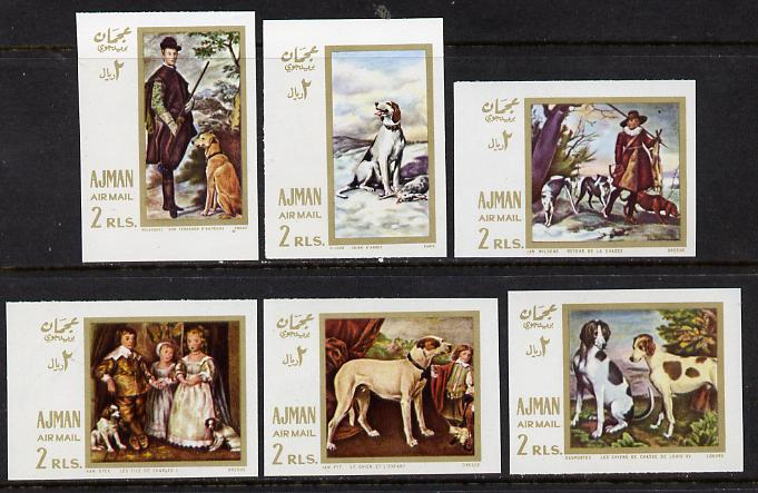 Ajman 1968 Paintings with Dogs imperf set of 6 (Mi 271-6B) unmounted mint, stamps on animals   arts   dogs