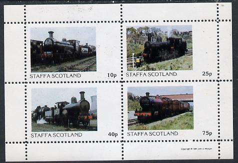Staffa 1981 Steam Locos #02 perf  set of 4 values unmounted mint