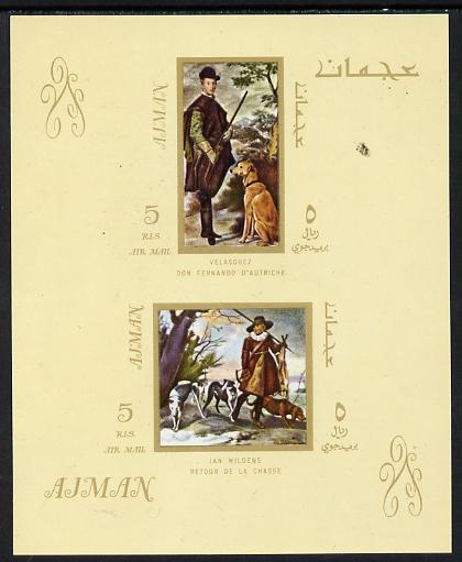 Ajman 1968 Paintings with Dogs imperf m/sheet unmounted mint (Mi BL 38)