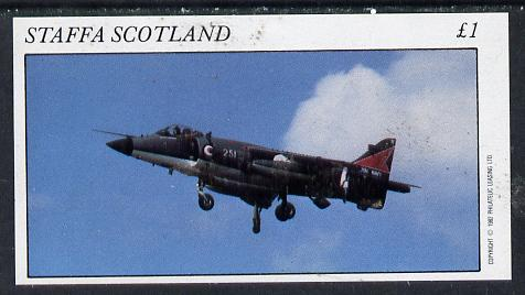 Staffa 1982 Military Jets #3 imperf souvenir sheet (�1 value)  unmounted mint