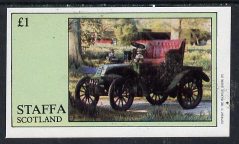 Staffa 1982 Vintage Cars #2 imperf souvenir sheet (�1 value) unmounted mint