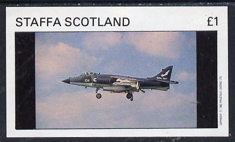 Staffa 1982 Military Jets #1 imperf souvenir sheet (�1 value) unmounted mint