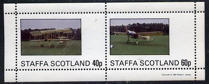 Staffa 1981 Early Aircraft #2 perf  set of 2 values unmounted mint