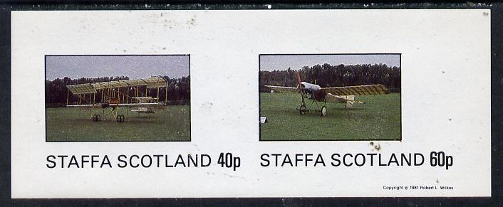 Staffa 1981 Early Aircraft #2 imperf  set of 2 values unmounted mint