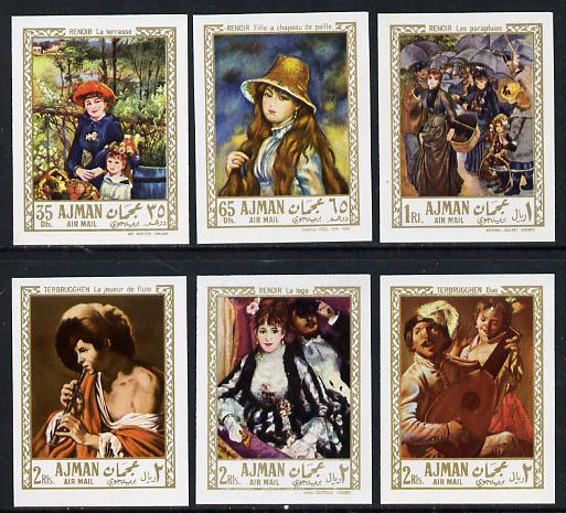 Ajman 1967 Paintings by Renoir & Terbrugghen imperf set of 6 (Mi 209-14B) unmounted mint