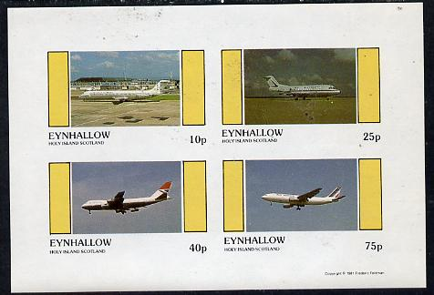 Eynhallow 1981 Airliners #1 imperf  set of 4 values (10p to 75p) unmounted mint , stamps on aviation