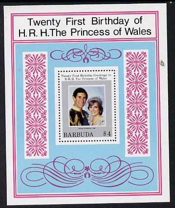 Barbuda 1982 Princess Di's 21st Birthday m/sheet (SG MS 627) unmounted mint