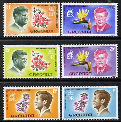 Grenada 1968 Kennedy (Flowers) set of 6 (SG 277-82) unmounted mint