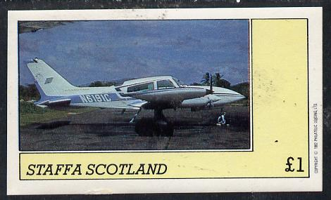 Staffa 1982 Aircraft #3 imperf souvenir sheet (�1 value) unmounted mint, stamps on aviation