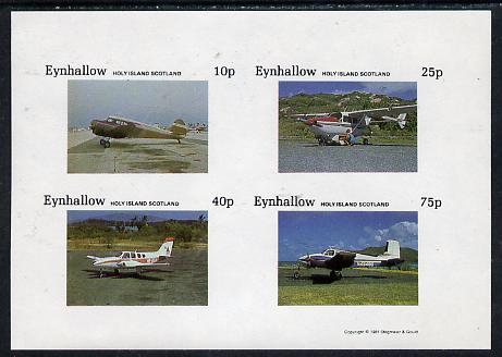 Eynhallow 1981 Light Aircraft #1 imperf  set of 4 values (10p to 75p) unmounted mint