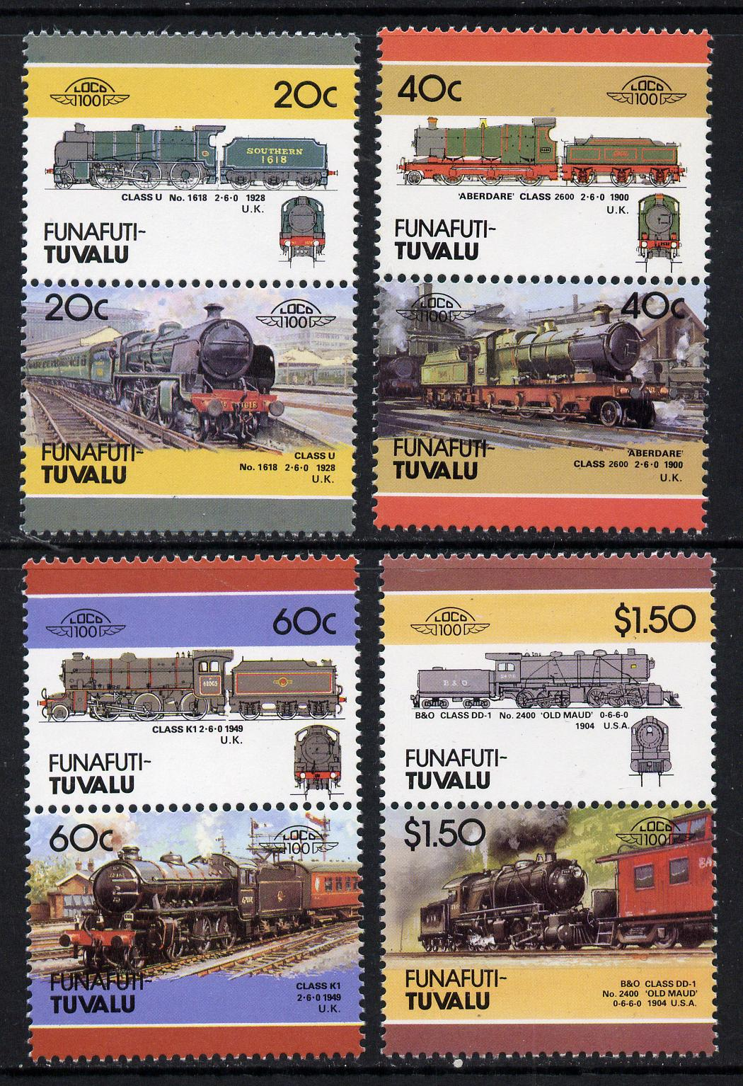 Tuvalu - Funafuti 1986 Locomotives #4 (Leaders of the World) set of 8 unmounted mint