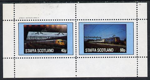 Staffa 1982 Modern Trains perf  set of 2 values (40p & 60p) unmounted mint