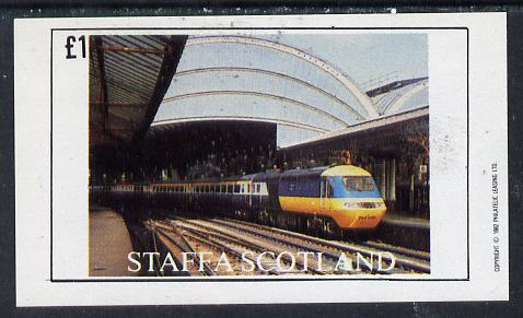 Staffa 1982 Modern Trains  imperf souvenir sheet (�1 value) unmounted mint