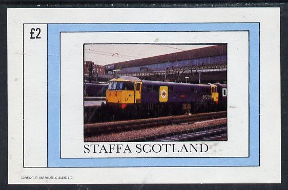 Staffa 1982 Modern Trains  imperf deluxe sheet (�2 value) unmounted mint