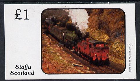 Staffa 1982 Steam Locos #07 imperf souvenir sheet (�1 value) unmounted mint