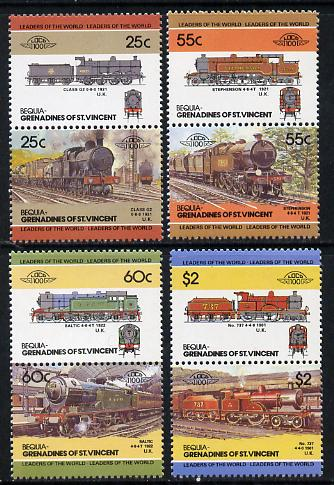 St Vincent - Bequia 1985 Locomotives #3 (Leaders of the World) set of 8 unmounted mint