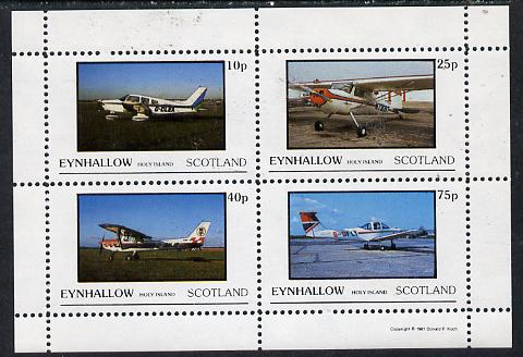Eynhallow 1981 Light Aircraft #2 perf  set of 4 values (10p to 75p) unmounted mint