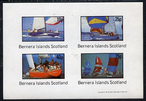 Bernera 1981 Yachts #2 imperf  set of 4 values (10p to 75p) unmounted mint