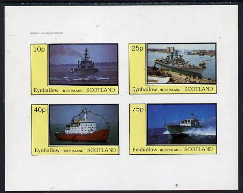Eynhallow 1982 Warships #2 imperf  set of 4 values (10p to 75p) unmounted mint