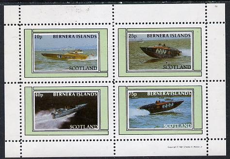 Bernera 1981 Power Boats perf  set of 4 values (10p to 75p) unmounted mint