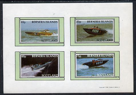 Bernera 1981 Power Boats imperf  set of 4 values (10p to 75p) unmounted mint