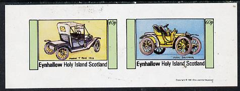 Eynhallow 1981 Cars #2 (Model 'T' Ford & Darracq) imperf  set of 2 values (40p & 60p) unmounted mint