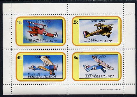 Bernera 1981 WWI Aircraft perf  set of 4 values (10p to 75p) unmounted mint
