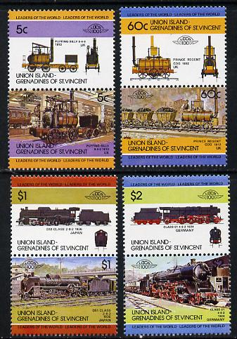 St Vincent - Union Island 1984 Locomotives #1 (Leaders of the World) set of 8 unmounted mint